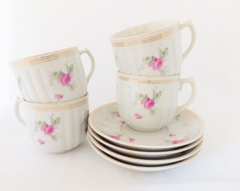 Occupied Japan, Vintage Tea Cups and Saucers, Set of Four, 1947-1952, Pink Rose Teacups 4 sets, Vintage Tea Party