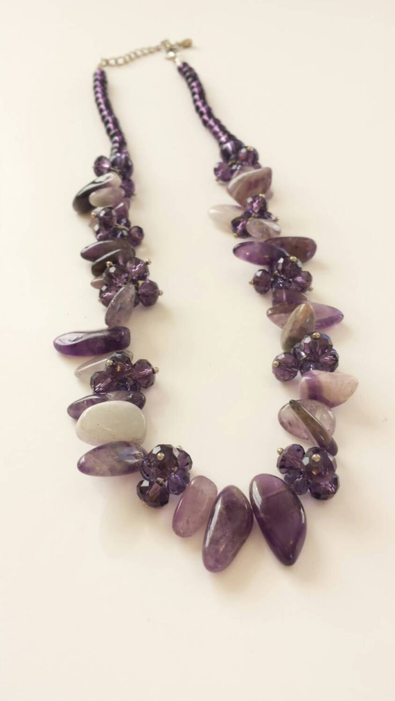 Purple amethyst stone necklace Healing stone necklace