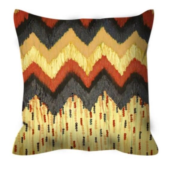 SHINE ON Gold Chevron Art Suede Throw Pillow Cushion Cover