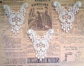 Victorian Venice Lace Appliques, Ivory, x 3, Embellishment For Apparel, Decor, Scrapbooks, Mixed Media, Accessories, Decor