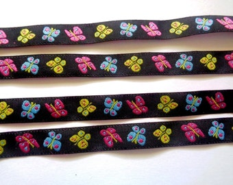 Jacquard Embroidered Butterfly Ribbon, Multi / Black, 7/16 inch wide, 1 yard, For Home Decor, Accessories, Apparel, Scrapbook, Mixed Media