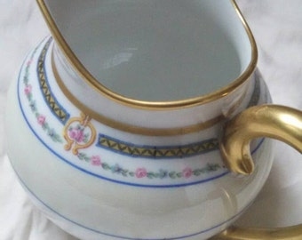 Antique French creamer , old Abbey Limoges , French gold trim creamer pot , antique creamer , hand painted ceramic