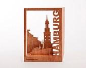 postcard wood - Hamburg 3 cards