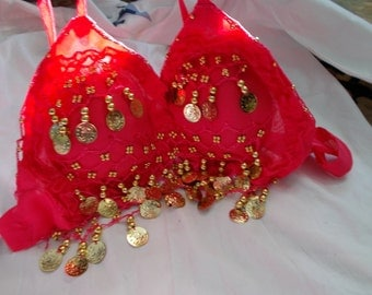 Stunning Chic Belly Dancers Bra- Excellent Condition-Rose