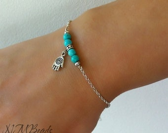 Skinny Turquoise Bar Bracelet Hamsa Karma Beaded Bar Sterling Silver Boho Chic Stacking Bracelet Protection Jewelry Birthday Gift For Her