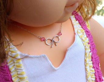 Silver Bow Necklace With Pink Swarovski, Kids Necklace, Bow Knot Necklace, Sterling Silver, Dainty Knot Necklace, Childs Girl Jewelry