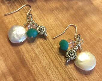 Earrings, Sliver Tone, Coin Pearl, Lt Pink Czech Glass , Sea Green Czech Glass Bead, Flower Charm, Hand Wire Wrapped, Free Shipping, USA #90