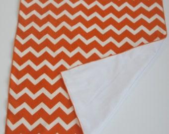 Waterproof Orange and White Chevron Baby Changing Mat-Waterproof Orange and White Changing Pad-Orange White Changing Pad-Diaper Changing Mat