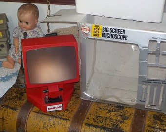 Tasco Big Screen Micro Microscope With Original Box Work 1994,  30X 40X 60X 80X, Microscope, Space toys, Learning toys,Movie Prop :)S*