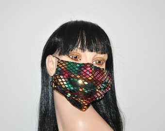Metallic Face mask, Glitter, Confetti sparkly, Flu mask, sequined face mask, rainbow colors