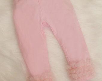 Pink Baby Girl Pants Infant Capri Pants with ChiffonTrim