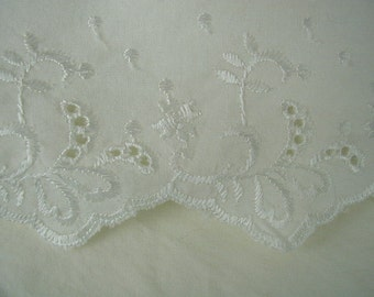 Vintage Flat White Bed Sheet, Pretty Lace-Eyelet Cuff, Shabby Cottage, King Bed Size