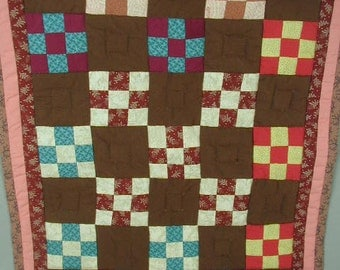 Vintage Pieced Patchwork Wall Hanging, One Of A Kind, Hand Quilted, Hand Made