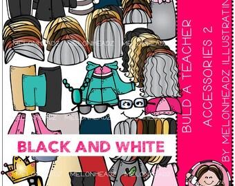Build a Teacher (female) Accessories clip art Part 2 - BLACK AND WHITE