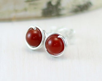 Carnelian Earrings, Sterling Silver Orange Gemstone Stud Earrings Wire Wrapped Red Carnelian Post Earrings