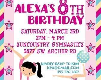 Gymnastics Theme Party Birthday Invitation