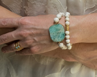 Boho Bracelet, Set of Two, Amanzonite Bracelet, Beaded Bracelet, Stack Bracelets