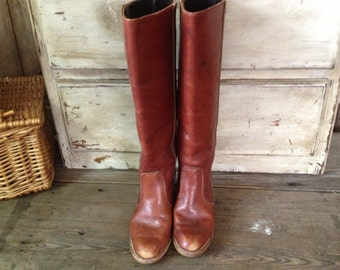 70s Leather Campus Riding Boots Size 7.5 USA Dexter