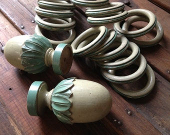 French Wood Curtain Rod Finials Rings Turned Wood Shabby Chic Curtain Pole Rod Ends Set of 16 Rings, 2 Finials