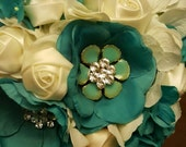 Full payment Bridesmaid Brooch Bouquets 2 Bouquets Aqua and Ivory