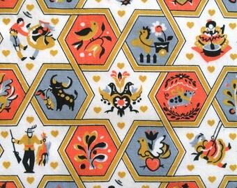 3 Yards 50s Vintage Novelty Fabric Spanish Bull Fighter Matador Motif Folk Octagon Pattern Mid Century Skirt Cotton Cute Bright Fun