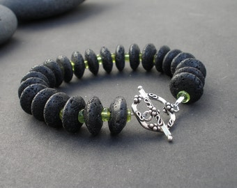 Natural Peridot Rondelle Shape, Natural Black Lava Abacus Shape 15mm, 925 Bali Sterling Silver Toggle Clasp Bracelet, 15mm Chunky Bracelet