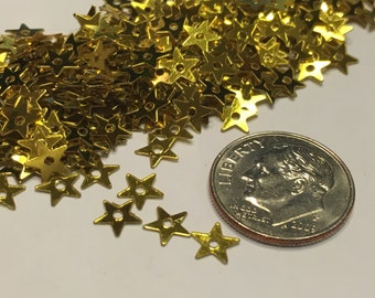 100-150 piece gold color 5 point small / tiny star sequins, 5 mm (20)+