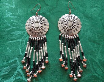 Vintage Dangle Earrings.  Hook Type, Native American Style, Long Dangle with Shield. Unusual