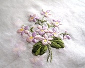 Pink & Lilac Hankie, large 13 x 13, Violets, Floral handkerchief, Ladies hankie, Free Shipping in the USA