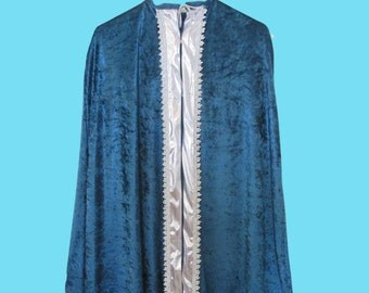 Boy's Regal Aqua blue Velour robe silver band front and trim