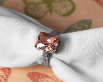 Pink Stone Silver Tone Ring with Faux Opal Inlay