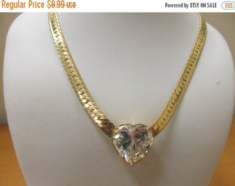 On Sale Retro Gold Tone Necklace with a Crystal Heart Item K # 3006