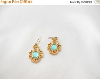 Biggest Sale Ever Vintage Earrings with Blue Moonglow Glass Center