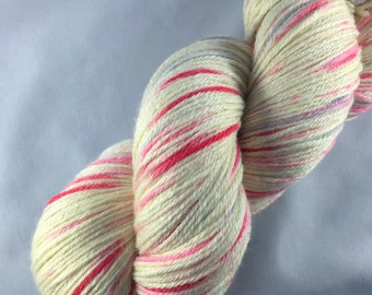Puppy Love: hearts, Valentines Day, gift for knitters, hand dyed sock yarn, yarn with hearts, red and pink
