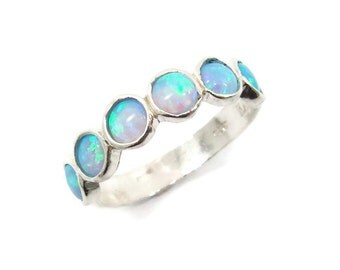 Opal ring. Silver ring. Silver opal ring. Opal band. Opal silver ring. birthday gift for her, opal jewelry, silver opal ring (sr-9531-587).
