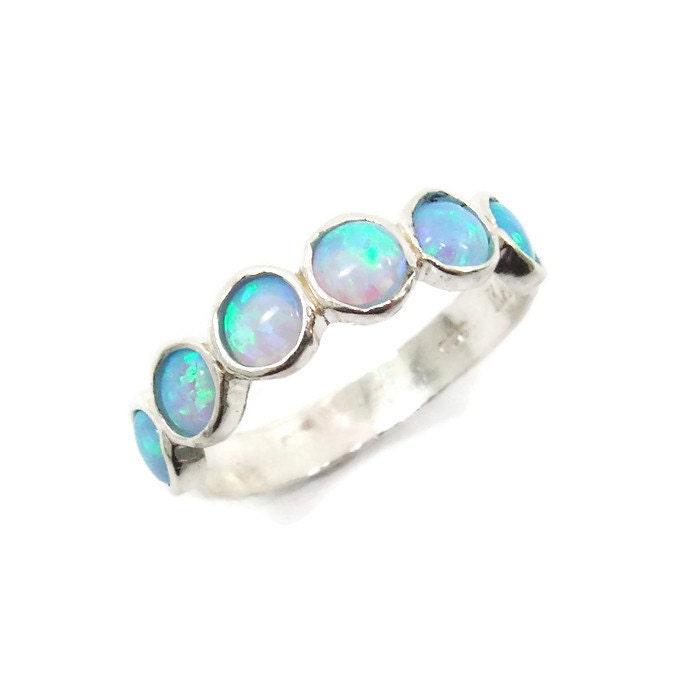 opal ring silver ring silver opal ring opal band opal