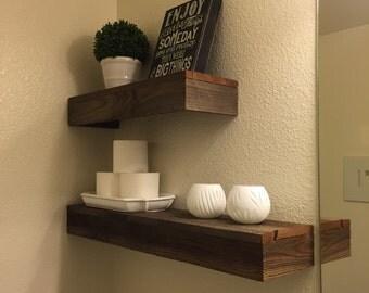 Set of 2 Reclaimed Wood Shelves