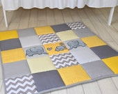 Gray elephant playmat, yellow play mat, floor gym crawl mat, baby mat thick large and soft baptism gift for boys and girls, handmade quality