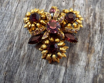 Pretty Purple and Pink Rhinestone Brass Brooch