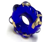 Special - Large hole lampwork focal bead in deep blue and 23k gold