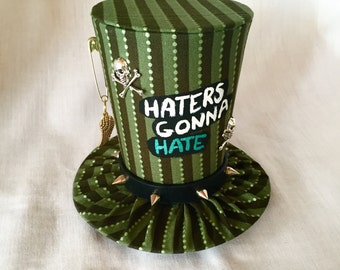 Tiny Top Hat: Haters Gonna Hate Green - Black Silver green Skull and cross bones punk rock rocker gothic goth wings burlesque kawaii cosplay