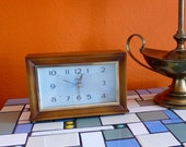 Vintage Sunbeam Electric Wood Desk, Mantel Working Alarm Clock Mid-Century
