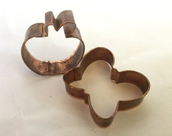 Vintage Solid Copper Cookie Cutters Butterfly Apple set so 2