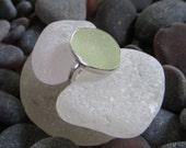 Size 7, UV Sea Foam Green Sea Glass Ring, Sterling Silver