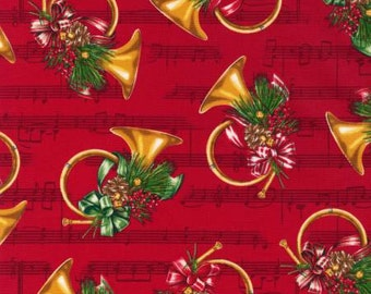 Robert Kaufman fabric CHRISTMAS HORNS and MUSIC