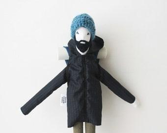 Backpacker art doll Fulano, ooak bearded traveler man doll, retro hiking stuffed doll, explorer soft sculpture Featured in STUFFED magazine