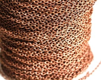 15ft Red Copper Cable Chain 3x2mm unsoldered