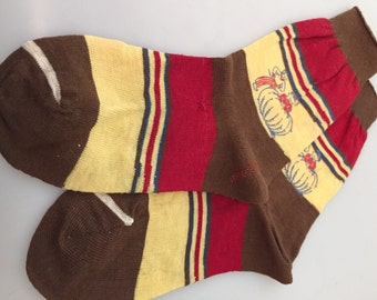 1950s Vintage Boy's NURSERY RHYME Socks Peter Peter PUMPKIN Eater Deadstock Rare Children's Sox