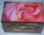 Wood photo box, pink rose photograph