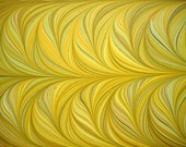 "Hand-Marbled Paper - Yellows, golds, greens, browns: ""Yellow Grasses"". Book endpapers, paper art, gift wrap"